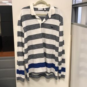 Lacoste Men's Striped Collared Long Sleeve Sz 3XL